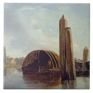 Una vista de Lambeth (aceite en el panel) Azulejo Cuadrado Grande