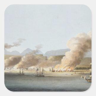 Una vista de Linga o del pulmón, del mar, el 16 de Pegatina Cuadrada