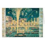 Una vista de los fuegos artificiales y de las ilum tarjeta de felicitación