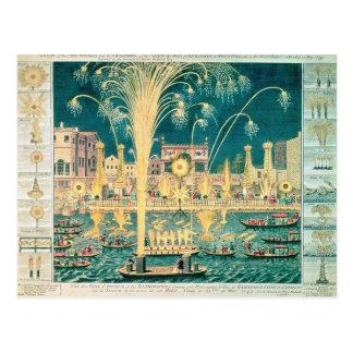 Una vista de los fuegos artificiales y de las tarjetas postales