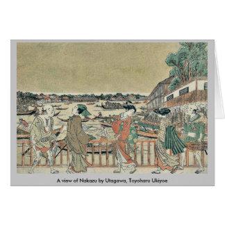 Una vista de Nakazu por Utagawa, Toyoharu Ukiyoe Felicitaciones