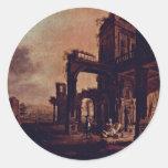 Una vista de un palacio del cristiano de Stöcklin Etiquetas Redondas