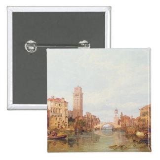 Una vista de Verona, 1848 (aceite en lona) Pin Cuadrada 5 Cm