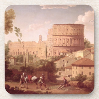 Una vista del Colosseum con un viajero, 1731 (oi Posavasos
