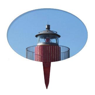 Una vista del faro rojo del puerto decoración de tarta