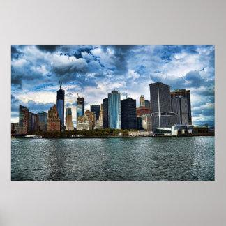 Una vista del Lower Manhattan Póster