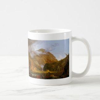 Una vista del paso de montaña tazas de café