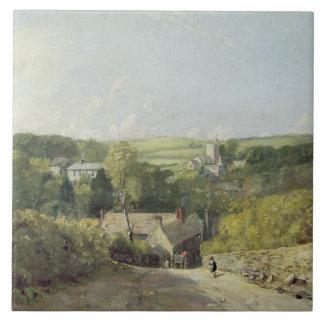 Una vista del pueblo de Osmington con la iglesia y Azulejo Cuadrado Grande