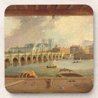 Una vista del puente de Westminster (aceite en el  Posavasos De Bebida