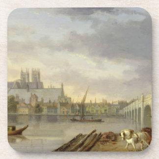 Una vista del puente de Westminster y de la abadía Posavasos De Bebidas