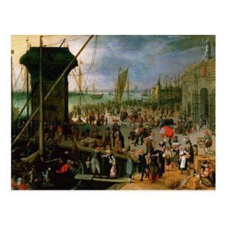 Una vista del puerto de Amberes Postal