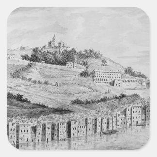 Una vista del puerto de la ciudad de Lyon Calcomanía Cuadrada Personalizada