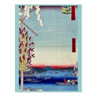 Una vista distante de Asakusa por Andō Hiroshige Tarjetas Postales