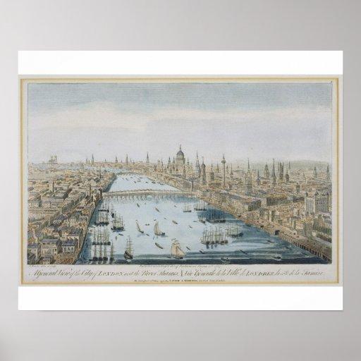 Una vista general de la ciudad de Londres y del rí Impresiones