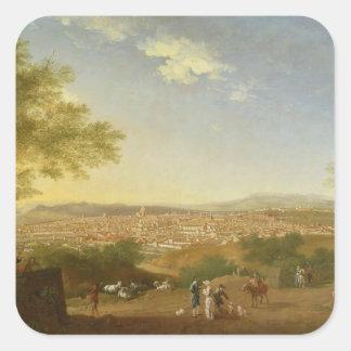 Una vista panorámica de Florencia de Bellosguardo, Pegatina Cuadrada