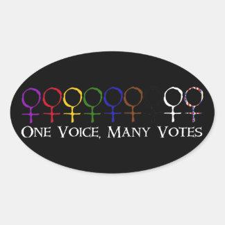 Una voz, muchos votos pegatina ovalada