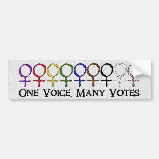 Una voz, muchos votos pegatina para auto