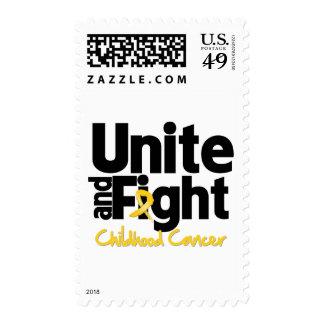 Una y luche al cáncer de la niñez sellos