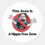 Una zona franca del Hippie Pegatinas Redondas