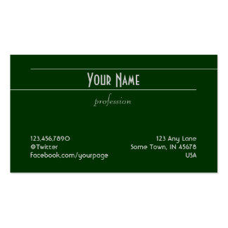 Unadorned Lines (light grey on green) Business Card