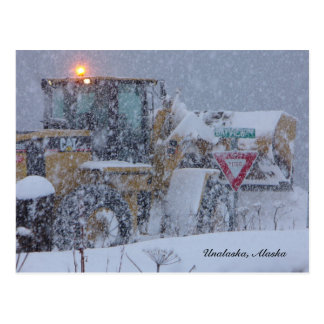 Unalaska, Alaska:  Clearing the snow. Postcard