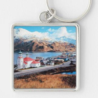 Unalaska Alaska Llavero Cuadrado Plateado