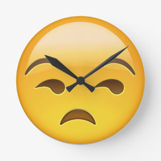 Unamused Face Emoji Round Clock