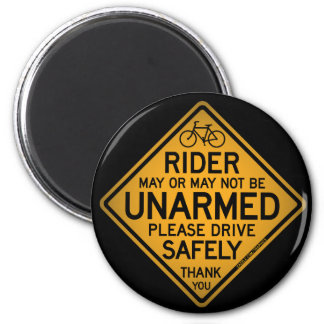 """""""UNARMED RIDER"""" Black Round Magnet"""