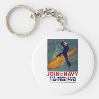 ¡Únase a a la MARINA DE GUERRA - marinero que mont Llavero Redondo Tipo Pin