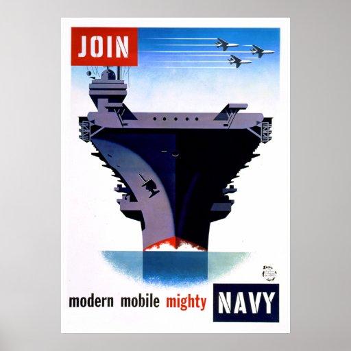 Únase a a la marina de guerra poderosa móvil moder impresiones