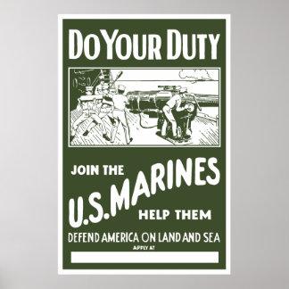 Únase a a los infantes de marina de los E.E.U.U. - Posters