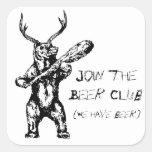 Únase a al club de la cerveza pegatina cuadradas personalizada