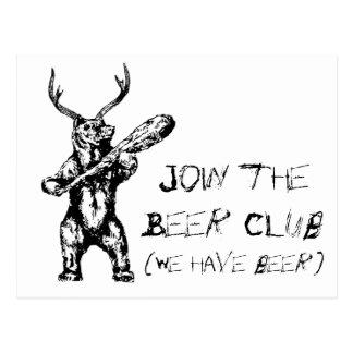 Únase a al club de la cerveza tarjetas postales