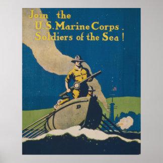 Únase a al Cuerpo del Marines de los E E U U ¡Sol Posters