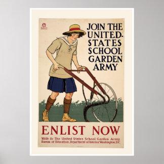 Únase a al ejército del jardín de la escuela póster
