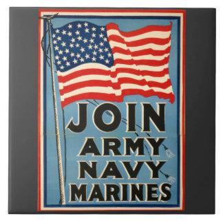 Únase a al ejército, marina de guerra, infantes de azulejo cuadrado grande