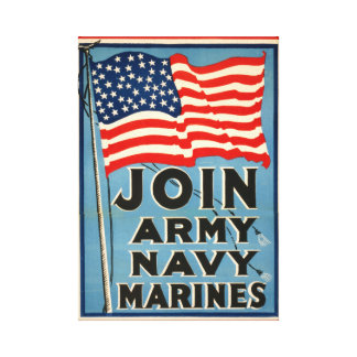 Únase a al ejército, marina de guerra, infantes de impresion de lienzo