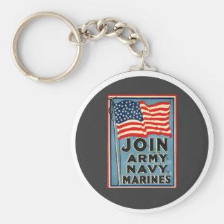 Únase a al ejército, marina de guerra, infantes de llavero redondo tipo pin