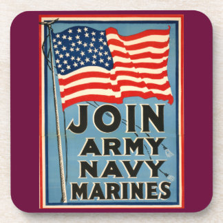 Únase a al ejército, marina de guerra, infantes de posavaso