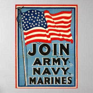 Únase a al ejército, marina de guerra, infantes de póster