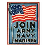 Únase a al ejército, marina de guerra, infantes de tarjeta postal
