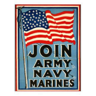 Únase a al ejército, marina de guerra, infantes de tarjetas postales