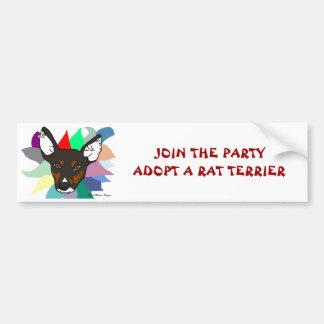 Únase a al fiesta adoptan a una pegatina para el p pegatina de parachoque