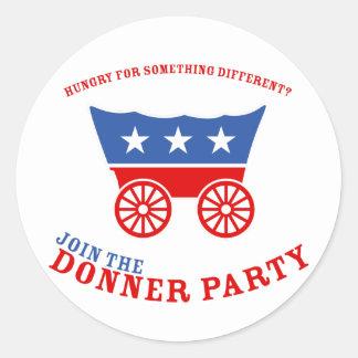 Únase a al pegatina del fiesta de Donner