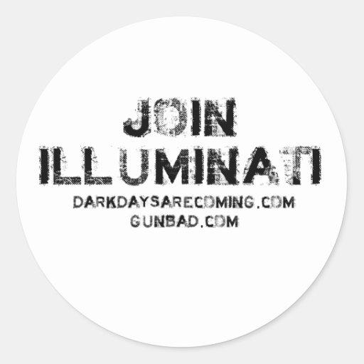 Únase a Illuminati Pegatina Redonda