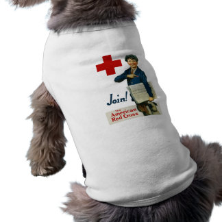 Únase a la Cruz Roja americana Playera Sin Mangas Para Perro