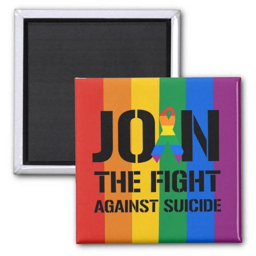 Únase a la lucha contra suicidio gay imán cuadrado