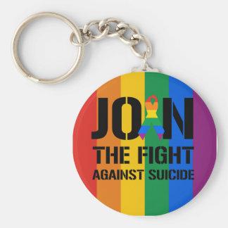 Únase a la lucha contra suicidio gay llavero redondo tipo pin