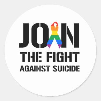 Únase a la lucha contra suicidio gay etiqueta redonda