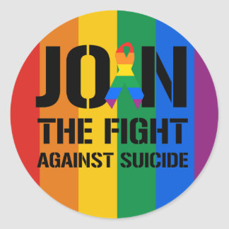 Únase a la lucha contra suicidio gay pegatinas redondas